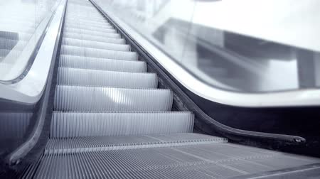 Up and down escalators in public building Stock Footage