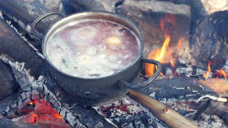 kaynatmak : Cooking soup in pot on bonfire at camp Stok Video