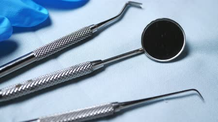 угловой : Dentist tools closeup Стоковые видеозаписи