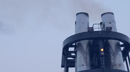csőrendszer : Ship chimney on upper deck of cruise liner