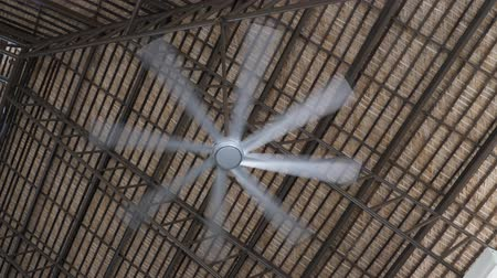 dominican : Ceiling fan cooling tropical wooden palapa Stock Footage