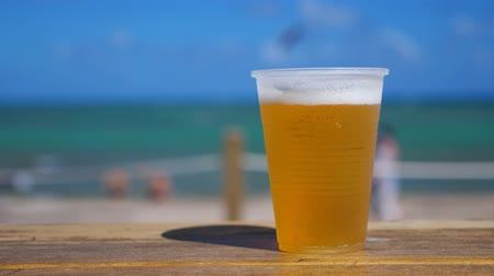 dominikana : Beer in plastic cup on wooden table over caribbean sea background Wideo