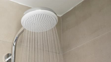 chrom : Shower head at tiled bathroom interior