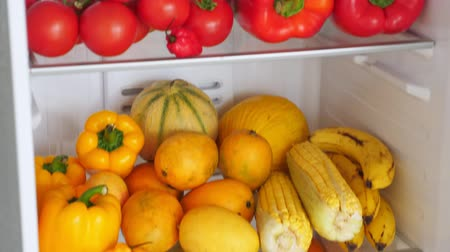 melão : Fridge full of fresh colorful orange fruits and vegetables