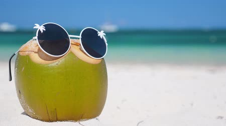 kokosový ořech : Green funny coconut in sun glasses on white sandy beach, summer travel concept