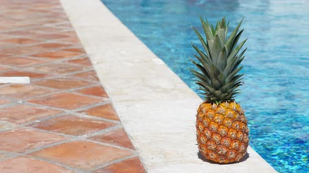 ananás : Pineapple near swimming pool at poolside