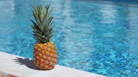 poblíž : Pineapple near swimming pool at poolside