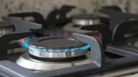 燃える : Gas oven with flame