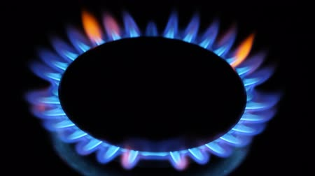 gas : Kitchen burner flaming in the dark