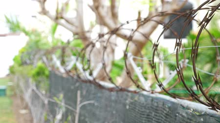 охрана : Wire barbed fence to private territory