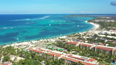 dominikana : Aerial view on caribbean city and tropical sea beach