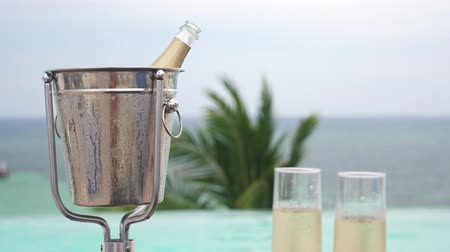 champagne pool : Cold champagne bottle in ice bucket and two glasses of sparkling wine