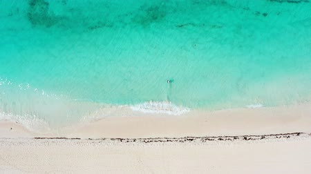 saona : Aerial view from drone on caribbean sea with waves
