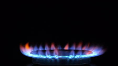 gas hob : Kitchen burner flaming in the dark