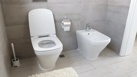 titular : White ceramic toilet and bidet at luxury bathroom