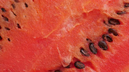 cutted : Ripe red watermelon on plate Stock Footage