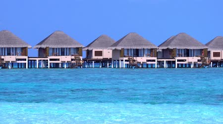 trópicos : Tropical travel pristine beach with water bungalows at maldivian island