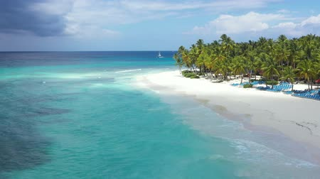 napágy : Aerial view on tropical island with coconut palm trees and turquoise caribbean sea