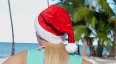 vízpart : Woman in Santa Claus Hat on beach Stock mozgókép