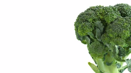 Green broccoli closeup on white background