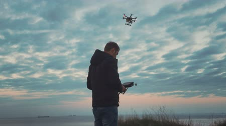 dron : Custom drone hexacopter flies in the sky