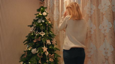 A young blond girl in a white woolen sweater gives a New Years gift to her best friend near a beautiful cozy green tree.