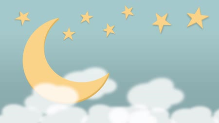 loopable Sweet softness lullaby color moon, twinkle star and clouds motion footage background for bedtime or any design.