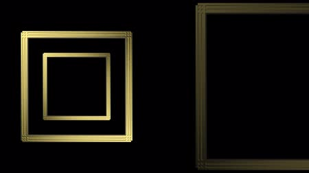 loop-able motion of luxurious golden Gatsby retro style square frame shape pattern rotation footage background. Wideo