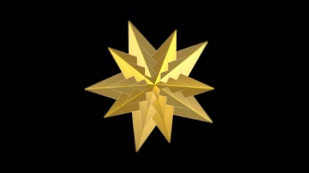 loopable rotating golden star with white alpha channel on black footage background.