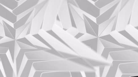 loopable abstract gray white triangle polygon rotation footage background. Wideo