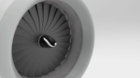 perspective view of rotating aircraft plane or jet engine blades fan turbine loopable motion footage.