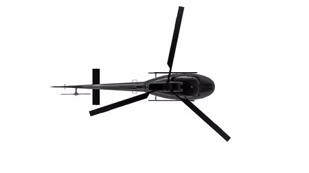 Aerial top view of flying black metal rotating blades helicopter isolated on white background with alpha mask channel motion footage.