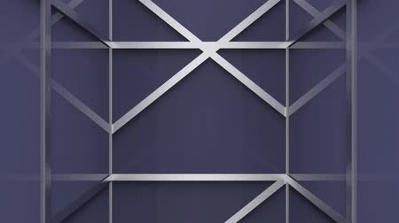 movement of modern white metal square frame pattern on purple for design scene background. Wideo