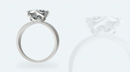karát : loopable rotating presentation of luxurious wedding diamond ring with white alpha mask channel footage.