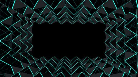 loopable modern futuristic dark triangle grid with blue beam light tunnel wall movement motion design background footage. Wideo
