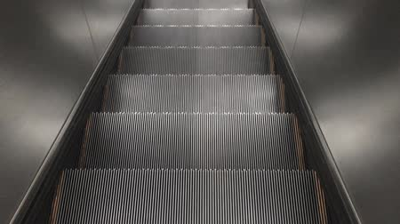 Empty downing escalator stair machine indoor footage background.