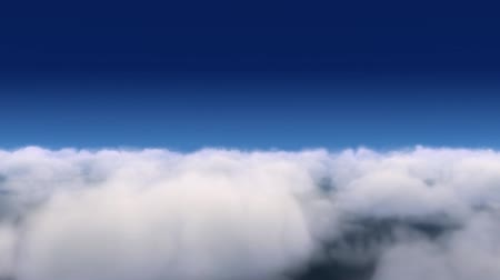 above white clouds on blue sky movement footage.