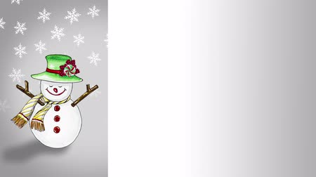 jumped : Cute snowman painted with watercolor He jumped out to wish a happy Christmas and a happy New Year for the background, with space to put your greeting message. Stock Footage