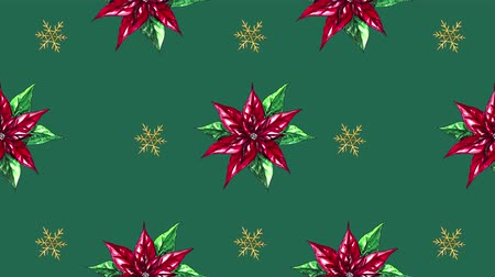 ansichtkaart : Flower and snow painted with watercolor seamless animation pattern for the your background.Concept of wish a happy Christmas and a happy New Year.