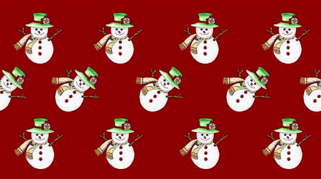 ansichtkaart : Cute snowman painted with watercolor seamless animation pattern for the your background.Concept of wish a happy Christmas and a happy New Year.