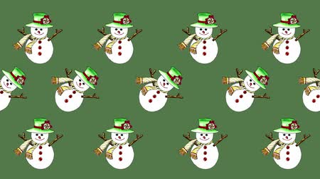 pocztówka : Cute snowman painted with watercolor seamless animation pattern for the your background.Concept of wish a happy Christmas and a happy New Year.
