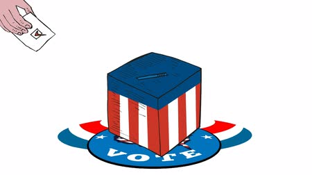 político : 2d video footage animation of a retro cartoon style hand holding paper ballot putting it in box with American stars and stripes flag with words vote on white screen background.