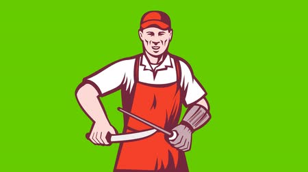 woodcut : 2d video footage animation of a butcher sharpening knife with steel rod facing front done in retro woodcut style on green screen background.