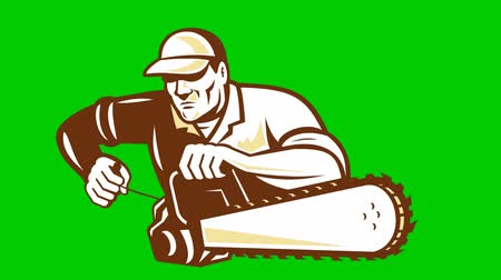 woodcut : 2d video footage animation of a lumberjack arborist gardener holding operating a chainsaw done in retro woodcut style on green screen background.