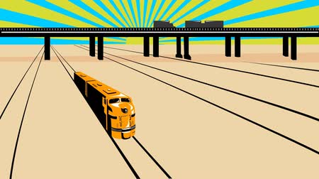 woodcut : 2d video footage animation of a diesel train on railroad passing viaduct bridge done in retro woodcut style.