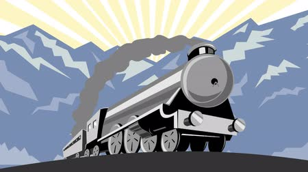 woodcut : 2d video footage animation of a steam train locomotive traveling with mountains done in retro woodcut style. Stock Footage