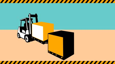 операция : 2d video footage animation of a forklift truck with crate box loading lifting materials handling.