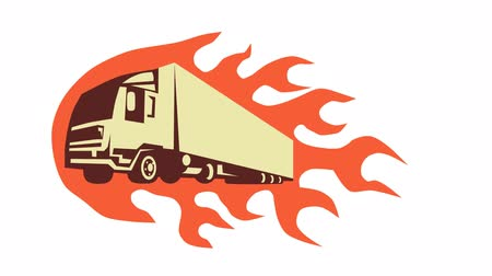 ciężarówka : 2d animation of a truck lorry done in retro style with fire flames in the background.