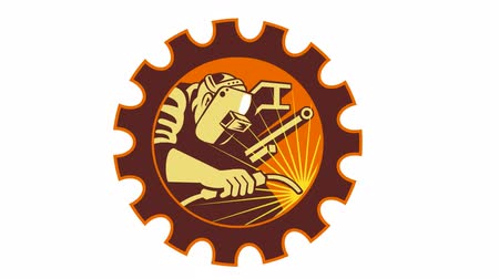 spawanie : 2d animation of a welder welding set inside cog gear done in retro style on white background.