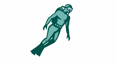 potápění : 2d animation of a scuba diver diving  done in retro style on white screen background. Dostupné videozáznamy